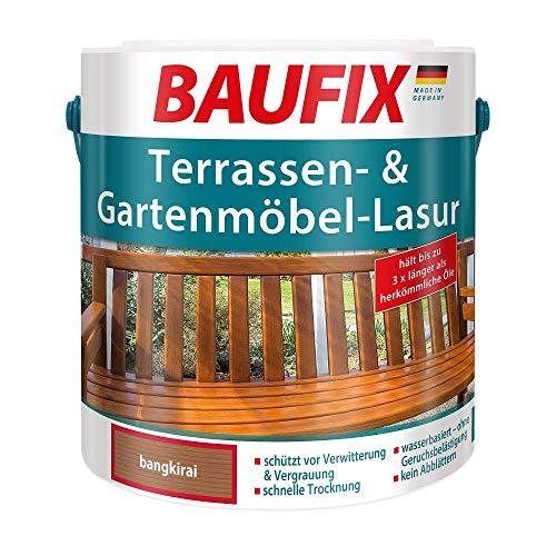 BAUFIX Terrassen- und Gartenmöbel-Lasur bangkirai, 2.5 Liter, wasserbasierte Gartenmöbel Lasur für Weichholz und Hartholz, auch für Holzterrassen, lange Haltbarkeit, schnelle Trocknung