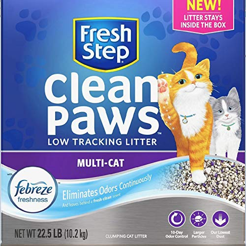 Price comparison product image Fresh Step Clean Paws Multi-Cat Litter,  Low Dust,  Scented with Febreze,  22.5 Lb