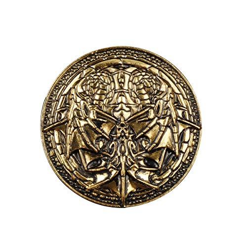 JiuErDP Canción de Hielo y Fuego de Tres Cabezas del dragón Retro de aleación de la Broche Ornamento Antiguo Insignia del Pin de Oro (Pack de 2) Broches y alfileres