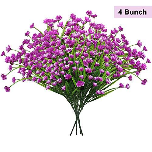 BELLE VOUS Narcisos Artificiales (4 Manojos) - 38cm Púrpura Flores Artificiales Falsas, Flores de Realistas para Mostrar, Centros de Mesa, Interior, Oficina, Casa, Libre, Jardín, Boda, Decoracións