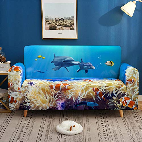 HXTSWGS Fundas de sofá para Perros,3D Print Dolphin Sofa Cover, Stretch Slipcovers, Sectional Elastic Sofa Cover for Living Room Couch Cove-SFW013_1-Seat 90-140cm