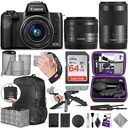 Canon EOS M50 Mirrorless Digital Camera and EF-M 15-45mm Lens + Canon EF-M 55-200mm f/4.5-6.3 is STM Lens with Altura Photo Advanced Accessory and Travel Bundle
