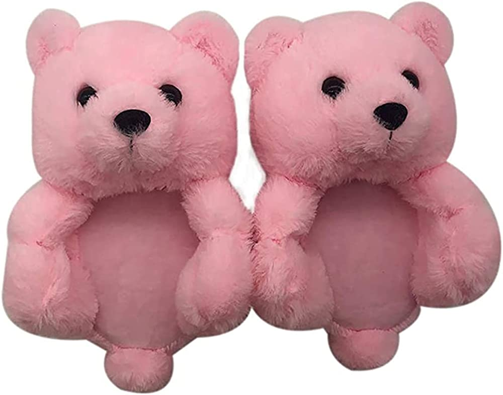 Teddy Bear Slippers - Plush Animal Slippers - Soft and Warm Bear House Winter Shoes with Anti-Slip Faux Fur for Women and Girls Size US 6-11