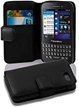 Cadorabo Case Works with BlackBerry Q5 (Design Book Structure) - with 2 Card Slots - Wallet Case Etui Cover Pouch PU Leather Flip OXID-BLACK DE-100603