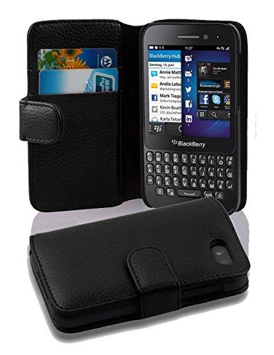 Cadorabo Hülle für BlackBerry Q5 - Hülle in Oxid SCHWARZ – Handyhülle mit Kartenfach aus struktriertem Kunstleder - Hülle Cover Schutzhülle Etui Tasche Book Klapp Style