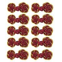 sharprepublic 10ペア 中国結びボタン 花 民族 タングスーツ 布の装飾 縫製 DIY 全5色 - パープルッシュレッド