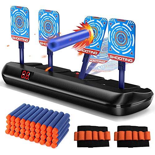 Juguetes de tiro para pistolas - Puntaje electrónico Restablecimiento automático 4 objetivos Juguetes Objetivos de tiro digitales, Regalo para niños / niñas, Dardos de espuma * 40, Pulseras * 2