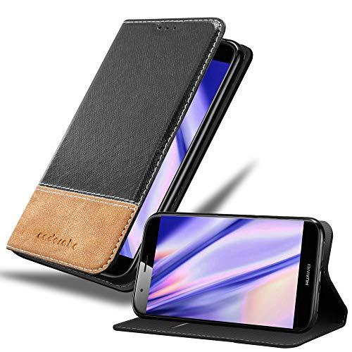 Cadorabo Hülle für Huawei G7 Plus / G8 / GX8 in SCHWARZ BRAUN – Handyhülle mit Magnetverschluss, Standfunktion & Kartenfach – Hülle Cover Schutzhülle Etui Tasche Book Klapp Style