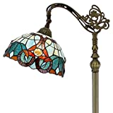 Tiffany Style Reading Floor Lamp Lighting W12H64 Inch Green Blue Stained Glass Floral Lampshade Antique Adjustable Arched Standing Base S802 WERFACTORY LAMPS Girlfriend Lover Bedroom Living Room Gifts