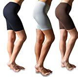Sexy Basics Womens 3 Pack Buttery Soft Brushed Active Stretch Yoga Bike Short Boxer Briefs (3 Pack- Black/Brown/Silver, Large)