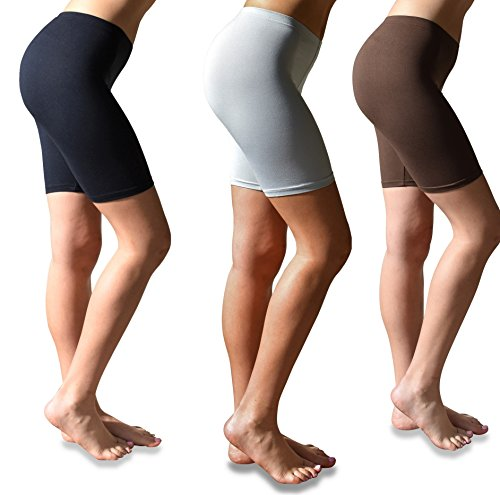 Sexy Basics Womens 3 Pack Buttery Soft Brushed Active Stretch Yoga Bike Short Boxer Briefs (3 Pack- Black/Brown/Silver, Medium)