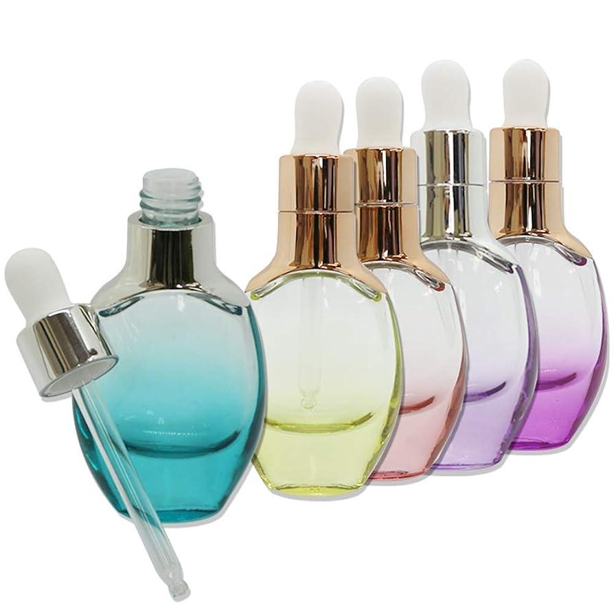 リス防衛禁止kutsukage かわいい エッセンシャルボトル スポイト式 5本セット ガラス製 カラフル オイル 化粧品 オイル