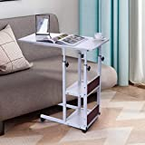 Maikouhai Mobile Side Table Adjustable Rolling Cart, Laptop Desk with Wheels Over Bed Sofa Couch Beside Computer Workstation Desk with Storage Tray for Medical Hospital Small Space