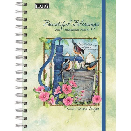 """LANG - 2018 Spiral Engagement Planner - """"Bountiful Blessings"""" - Artwork By Susan Winget - 12 Month by Week or Month - 6.25"""" x 9"""""""