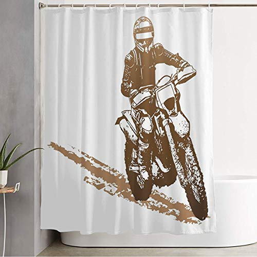 Shower Curtain Transportation Motorized Silhouette Brown Dirtbike Motorbike Sports Man Recreation Motocross Skid Decorative Bathroom Waterproof Polyester Fabric with Hooks 72x78 Inch