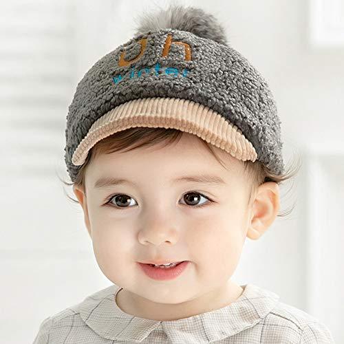 Oupai Schutzmaske Hut Kleinkind-Baseball-Mütze Jungen Kind-Baby-justierbare Kappen for Winter, Outdoor Sports Warm for Kinder 1-2 Jahre (Color : Beige, Size : 1-2year)