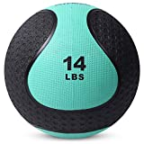 Medicine Exercise Ball with Dual Texture for Superior Grip by Day 1 Fitness - 14 Pounds - Fitness Balls for Plyometrics, Workouts - Improves Balance, Flexibility, Coordination