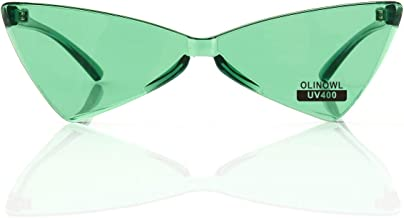 OLINOWL Triangle Rimless Sunglasses One Piece Colored Transparent Sunglasses For Women and Men