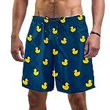 Bañador Hombre Azulejo Patito Amarillo Traje de Baño Secado Rápido Short de Playa Forro de Malla Pantalones de Baño para Bote Playa Piscina L
