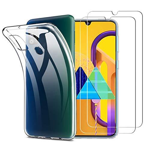 iLiebe Samsung Galaxy M21 / M30s Hülle Panzerglas, [Hülle + 2 Panzerglas] Schutzhülle Silikon Hülle Cover TPU Transparent Crystal mit [Ultra Dünn] Schutzfolie Folie Glas für Samsung Galaxy M30s / M21
