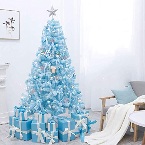 KAUTO Pre-Lit Artificial Christmas Tree Snow Flocked Decor Branches 8 Flash Modes String Light with Ornaments & Metal Stand-Tiffany Style Blue 5ft(150cm)