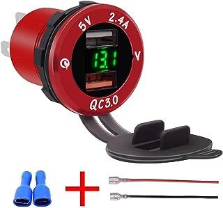 LOVFASHION Dual USB Charger Socket Waterproof Power Outlet with 12V/24V Voltmeter LED Digital Display for Car Boat Marine Motorcycle ATV RV Campers Tractors