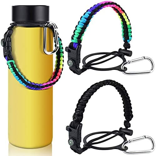 KATUMO 2 Pack Paracord Handle for Hydro Flask Wide Mouth Water Bottles for 12oz - 64oz Bottles for Hiking with Safety Ring, Fire Starter, Whistle, Compass and Carabiner