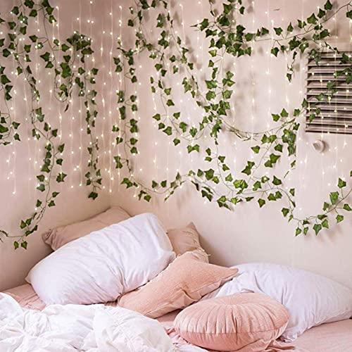 Kicpot Künstliche Reben, 2,5 m (12 Stück) künstliche Efeublätter, hängende grüne Girlande, Ranke mit 10 m LED-Lichterkette für Garten, Hochzeit, Party, Zuhause, Wanddekoration