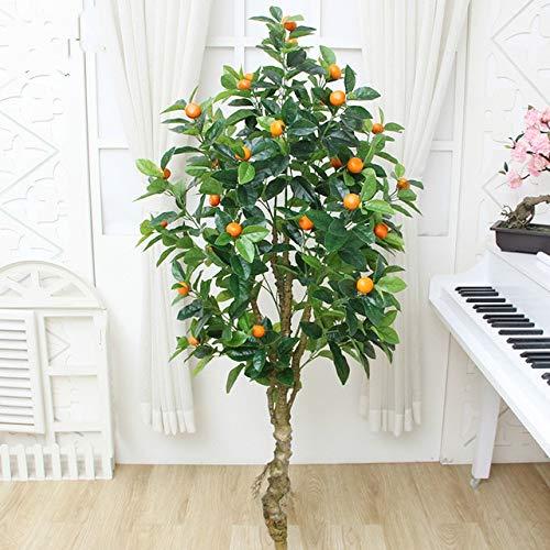 GETSO künstliche Pflanze Apfel Orangenbaum gefälschte Baum Grün künstliche Blume Hauptdekoration Bonsai gefälschte Pflanzen Zimmerpflanzen Bonsai: 1.5m ohne Topf