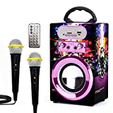 Kidsonor Kids Bluetooth Karaoke Speaker with 2 Microphones, Wooden Wireless Rechargeable Remote Control Portable Karaoke Music MP3 Player Loudspeaker with Microphones for Kids Adults (Purple)
