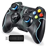 EasySMX Wireless 2.4g Game Controller Support PC (Windows XP/7/8/8.1/10) and PS3, Android, Vista, TV Box Portable Gaming Joystick Handle (Wireless Game Controller Camouflage)