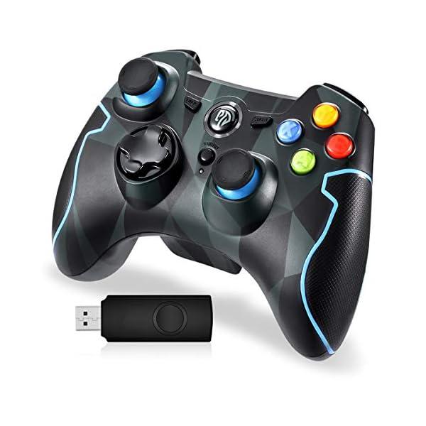 EasySMX-Manette-PCPS3-sans-Fil-24G-Manette-de-Jeu-Rechargeable-avec-Double-Vibrations-8H-dAutonomie-pour-PS3-PCAndroid-Smartphone-Tablette-TV-BoxVia-OTG-et-Simulateur