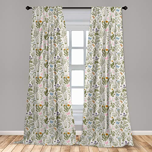 """Ambesonne Floral Window Curtains, Vintage Garden Plants with Herbs Flowers Botanical Classic Design, Lightweight Decorative Panels Set of 2 with Rod Pocket, 56"""" x 63"""", Mustard Green"""