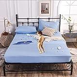 Cubre colchón ajustable Acolchado,Bordado Coral Fleece Protector de colchón Sábana ajustable Funda de estilo para colchón...