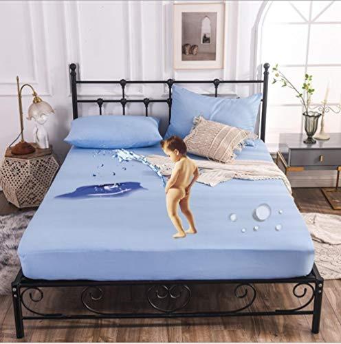 XLMHZP colchas Lisas,Funda de colchón en Relieve Protector de colchón de sábana Ajustable antiácaros para el hogar Funda de Almohadilla Suave Gruesa para Cama Doble-F_180x200+30cm