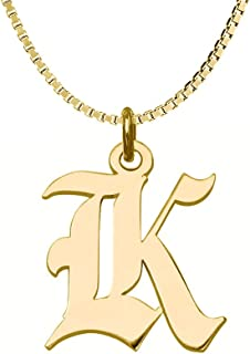 gothic letter initial necklace