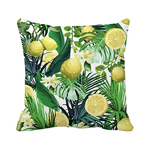 ETGeed Throw Pillow Cover Orange Pattern of Lemon Flowers and Tropical Leaves Soft Cushion For Sofa Home Car Decoration,18x18Inch