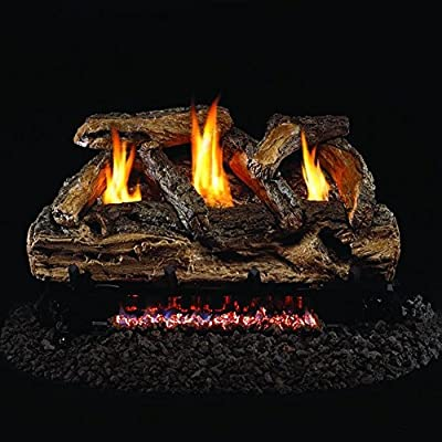 Peterson Real Fyre 24-inch Split Oak Log Set With Vent-free Propane Ansi Certified G9 Burner - Variable Flame Remote