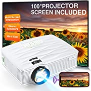 """#LightningDeal Projector, WiFi Mini Projector 1080P Supported with 100"""" Projector Screen, 5500 Lux 210"""" Display Movie Projector, Compatible with Phone, Computer, Laptop, USB, HDMI, VGA-Home, Outdoor Entertainment"""