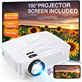 """Projector, WiFi Mini Projector 1080P Supported with 100"""" Projector Screen, 5500 Lux 210' Display Movie Projector, Compatible with Phone, Computer, Laptop, USB, HDMI, VGA-Home, Outdoor Entertainment"""