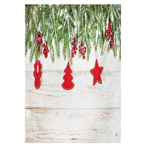 Christmas Wall Decoration for Living Room Noel Tree Branches Over Timber Board with Handmade Toy Figures and Berries Image Image Print Decorative Painted Beige Red 20x28