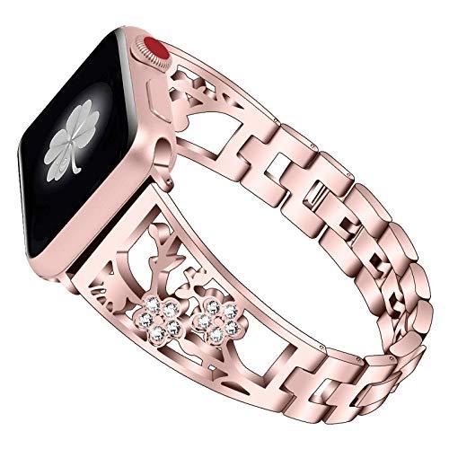 Bracelets de montre compatibles pour Apple Watch 38 mm 40 mm 42 mm 44 mm Série SE 6 5 4 3 2 1 Bijoux pour femmes Bracelet en métal avec bracelet de remplacement en diamant Bling