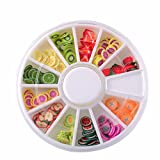 Armfer-household supply Fruit Slime Charms Colorful Mini Fruit Slices Mixed Food Resin Flatback Cute Slime Beads DIY Crafts Cloud Slime Making Accessories Ornament for Girls Boys