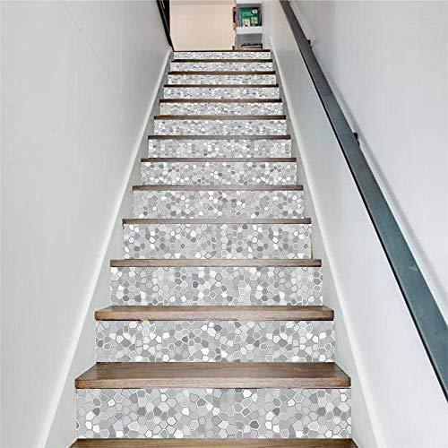 Pegatinas De Escaleras De Mosaico Blanquecino Pegatinas De Pasos Impermeables Pegatinas De Pared Creativas Autoadhesivas 100 Cm * 18 Cm * 13 Piezas