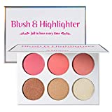 Blusher & Illuminator Highlighter & Bronzer Powder Contour Collection Set - 3 Blusher & 3 Highlighter Powder Palette - Perfect for Contouring and Highlighting - Vegan and Cruelty Free