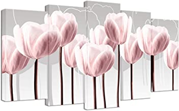 Visual Art Decor Abstract Pink Tulip on Grey Background Canvas Prints Wall Art Floral Painting Print with Frame Modern Home Decoration Ready to Hang