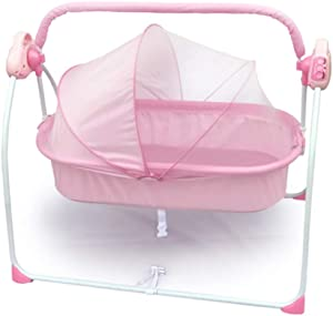 YXHMNB Travel Cot Bedding  Electric Cradle Bed Portable Folding Child Cot Suitable for 0-3 Years Old Baby Pink