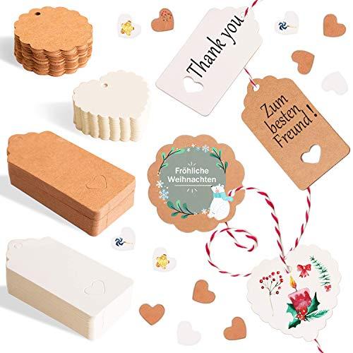 Alintor 100 Geschenkanhänger Kraftpapier, Weihnachten Kraftpapier mit Herz, Etiketten für Namenskarten Hochzeit Geburtstag Grußkarten DIY Tags Hochzeit Geschenke zum Basteln Valentinstag