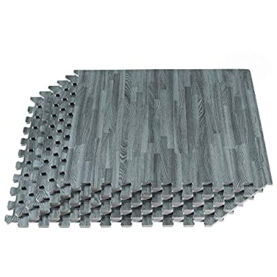 FOREST FLOOR 3/8 Inch Thick Printed Foam Tiles, Premium Wood Grain Interlocking Foam Floor Mats, Anti-Fatigue Flooring, 24 in x 24 in