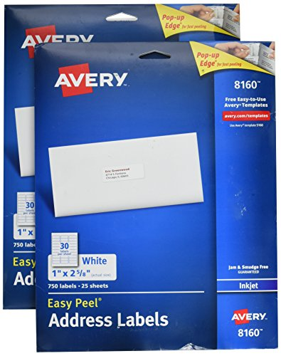 Avery Easy Peel Address Labels for Inkjet Printers, 1 x 2.62 Inch, White (08160) (2 Boxes of 750 Labels)